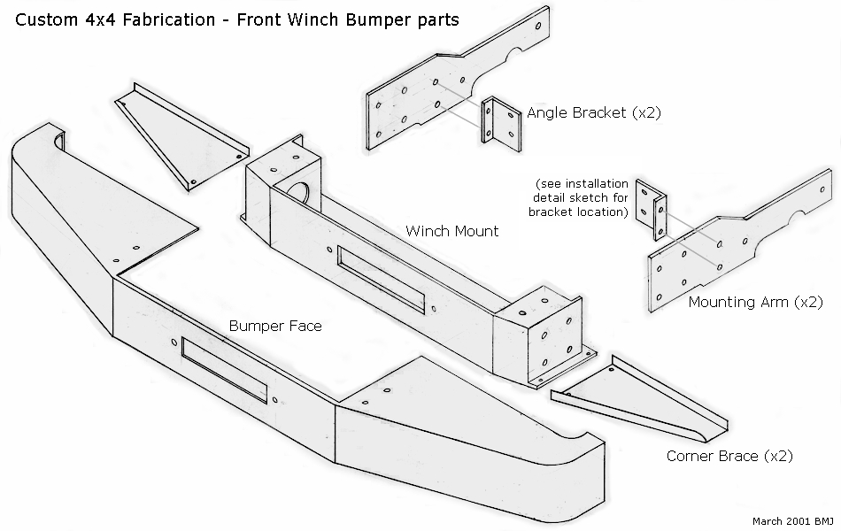 Rugged Ridge Custom Modular Heavy Duty Bumpers For Jeep likewise Front Bumpers 76 06 CJ YJ And TJ further Flowmaster American Thunder Jk 817674 besides DIY SWB PRE N besides Jeep Tie Rod Parts Diagram Schematic. on jeep jk front bumper parts html
